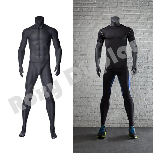 (MZ-NI-2) ROXYDISPLAY Eye Catching Male Headless Mannequin, Athletic Style. Standing Pose with Straight arms.