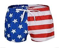 Tootess メンズビーチのポケットは、愛国的なアメリカの国旗の7月4日のハーフパンツ Red M