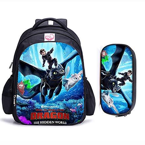 Cvxgdsfg 16 pulgadas Cómo entrenar a tu dragón ortopédicos bolsos de escuela de los niños mochila niños y niñas los niños del bolso de escuela (Color : 2pcs B)