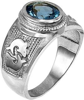 Zodiac Sign Birthstone CZ Ring in Sterling Silver