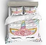 NYLIN Einhorn Und Schöne Blumen Bettwäsche 2-4 teilig Bettbezug Set Unicorn Tier Karikatur Muster Microfaser Bettbezug/Kissenbezüge/Bettlaken,Für Kinder,Kleinkinder,Jungen,Mädchen