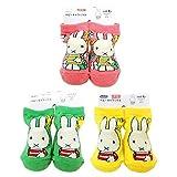 ミッフィー ベビーソックス 3柄セット(しましまミッフィー ピンク・グリーン・イエロー) 0~1歳 滑り止め付き 新生児はじめての靴下