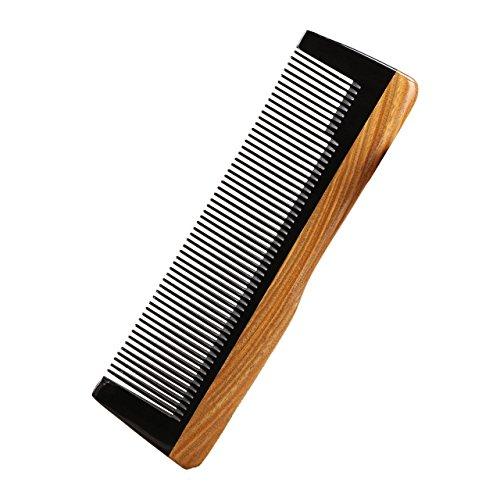 LWBTOSEE Handcrafted Neem Wood Comb, grünes Sandelholz Anti Static Detangling Horn Kamm für Frauen, Männer und Mädchen, Haarkamm für dickes, lockiges und welliges Haar, Anti-Schuppen, umweltfreundlich