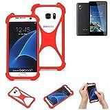K-S-Trade® Handyhülle Für Kazam Trooper 2 6.0 Schutzhülle Bumper Silikon Schutz Hülle Cover Case Silikoncase Silikonbumper TPU Softcase Smartphone, Rot (1x)