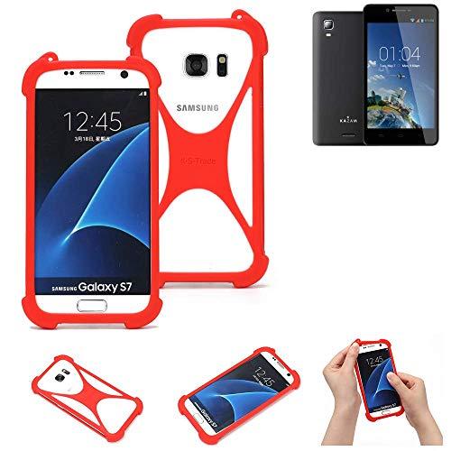 K-S-Trade Handyhülle Kompatibel Mit Kazam Trooper 2 6.0 Schutzhülle Bumper Silikon Schutz Hülle Cover Case Silikoncase Silikonbumper TPU Softcase Smartphone, Rot (1x)