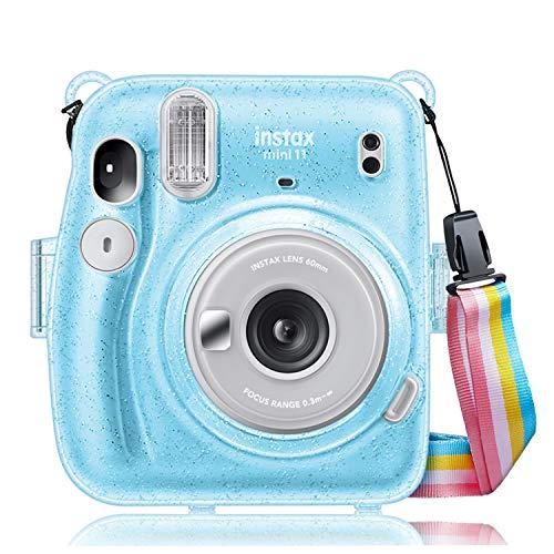 Fintie Tasche für Fujifilm Instax Mini 11 Sofortbildkamera - Transparent Hart PVC Schutzhülle Reise Kameratasche Hülle Abdeckung mit abnehmbaren Riemen, Schimmernd Blau