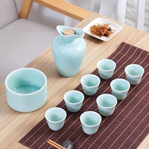 wsxc Utensilios de vino chino, utensilios de vino de cerámica, vasos de sake, vasos de cerámica, petacas, utensilios de vino para el hogar, muchos colores están disponibles (color: azul)