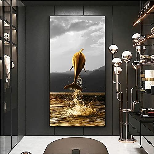 DIY 5D Large Diamond Painting Delfín dorado Kits de Perforación Completos Rhinestone Picture Art Craft para decoración de la Pared del hogar 80x160cm Square Drill