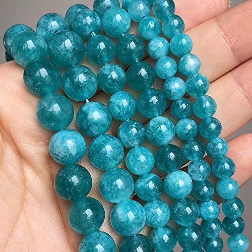 Cuentas de Piedra Sueltas Azules de 6 8 10 Mm, Cuentas espaciadoras Redondas Lisas para joyería, fabricación de Bricolaje, Pulsera, Pendientes, Accesorios de 15 Pulgadas 6mm (Approx 61pcs)