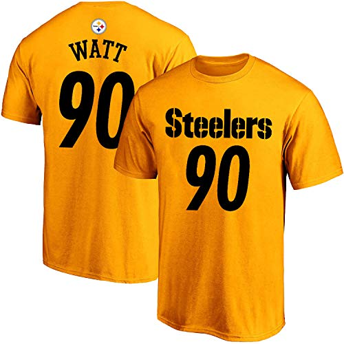 Outerstuff NFL Youth 8-20 Alternate Polyester Performance Mainliner Player Name and Number Jersey T-Shirt (TJ Watt Pittsburgh Steelers Yellow Alternate, 18-20)