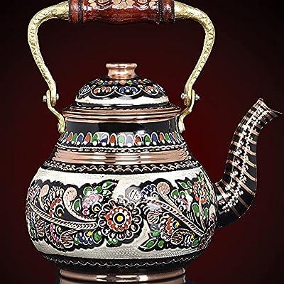 Copper Turkish TeaPot Tea Kettle Pot for Stovetop - Stove Top Vintage Pure Handmade for Serving Drinking Tea Water Kitchen Home Gift 2.1 Quartz - 2 Liter