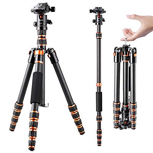 K&F Concept - Treppiedi per Fotocamera BA225, Treppiede professionale in fibra di carbonio, leggero e compatto per fotocamera digitale, videocamera