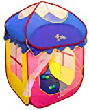 Toyshine Foldable Children's House Indoor Outdoor Pop Up Tent House Toy, Blue Pink, 5 Balls Included