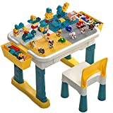 burgkidz Kids 6-IN-1 Multi-Activity Table and Chair Set with 381 Pieces Classic Creative Bricks (100 Pcs Big Blocks and 281 Pcs Small Blocks), Extra Large Building Construction Table for Family