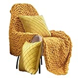 Life Tools Chunky Throw Blanket- Warm Knot Blanket for Sofa, Chair and Bed (50x60in) Ultra-Soft Handmade Chunky Knit Throw Blanket with a Pair of Velvety Decorative Pillowcase(20x20in) (Canary Yellow)