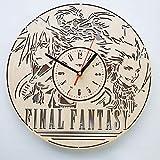 Final Fantasy ファイナルファンタジー木製掛け時計ー完璧で美しく作られたー現代アートで自宅を飾ろうー彼と彼女にユニークなギフトーサイズ12インチ(30 ㎝)