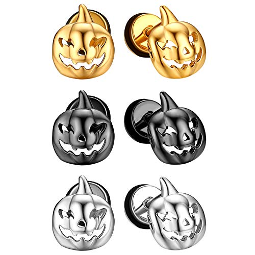 JewelryWe 3 Paar Halloween Fakeplugs Ohrstecker Set, Edelstahl Kürbis Fratze Totenkopf Ghost Nightmare Ohrringe für Herren Damen, Schwarz Gold Silber