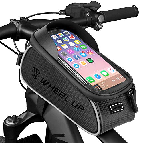 LezGo Bike Front Frame Bag MTB wasserdichte Oberrohr-Aufbewahrungstasche Radfahren Touchscreen Sonnenblende Telefonhalterung Pack für Telefone unter 6,0 Zoll
