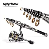 GWBNHH Canne a Peche Silure Surfcasting Truite Spinning, Mini Ultra Court Fishing Rod Carpe Télescopique Carbone Casting Carnassier,1.8m