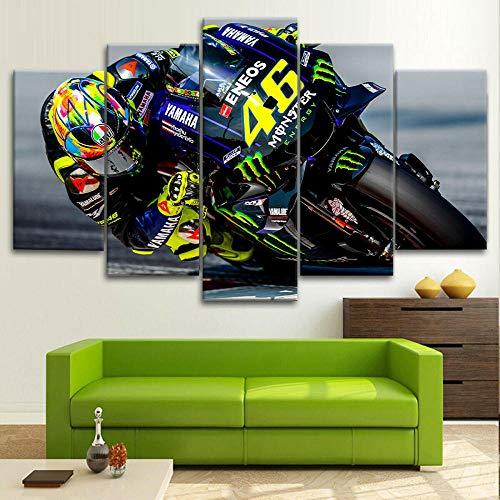XIAYF Valentino Rossi Moto GP Cuadro en Lienzo (Marco 150x80cm) 5 Piezas Impresión Artística Material no Tejido, Hd Lienzo Decorativo Sala Dormitorios Modernos Póster