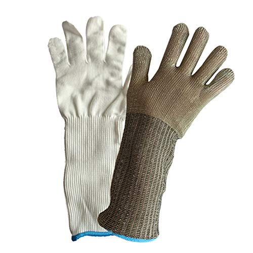 Schnittfeste Handschuhe 316L Stahldraht Cut-resistente Handschuhe, Level 5 Schutzsicherheit Arbeitshandschuhe Für Küchengarten-Schlachthöfe, Erweiterte Arme