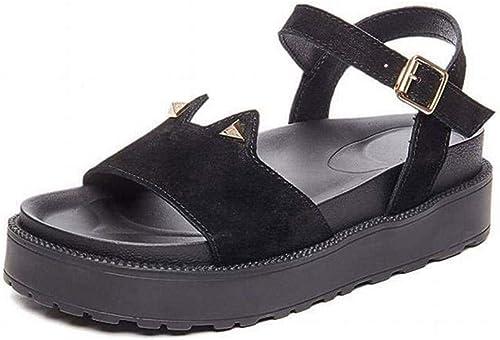 TFTORY Sandales Femme été Fond Plat Sauvage étudiant Fond épais Chaussures à Semelles Compensées en Cuir Chaussures Romaines, noir, 34