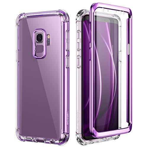 SURITCH für Samsung Galaxy S9 Hülle Schutzhülle 360 Grad Stoßfest Durchsichtige Front Und Rückenschutz Handyhülle mit Kameraschutz Lila TPU Bumper Eingebautem Displayschutz