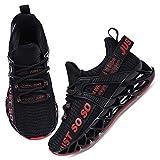 UMmaid Kinder Laufschuhe Atmungsaktiv Sportschuhe für Jungen Mädchen,E Schwarz Rot,31