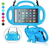 MENZO Kids Case for All-New Fire 7 2019, Light Weight Shockproof Shoulder Strap Handle Stand Case for Fire 7 Inch (Compatible with 9th Generation 2019 / 7th Generation 2017) - Blue