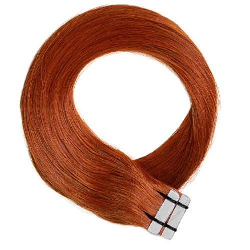 Just Beautiful Hair 30 x 2.5 g Extensions bande adhésives - 60cm, REMY Hair #130 cuivre, lisse