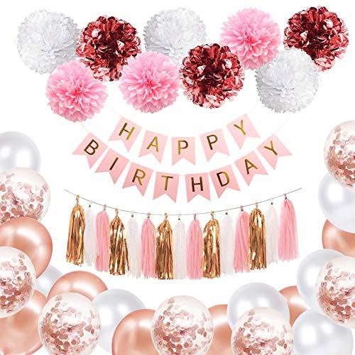 Decoraciones de Cumpleaños de Oro Rosa, Pancarta de Feliz Cumpleaños, Globos de Látex, Pompones y Borla para Decoración de Fiesta para Mujeres y Niñas