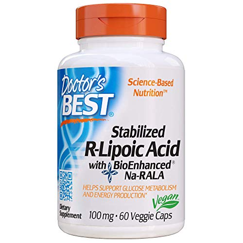 Doctor's Best Stabilized R-Lipoic Acid with BioEnhanced Na-RALA, Non-GMO, Gluten Free, Vegan, Helps Maintain Blood Sugar Levels, 100 mg 60 Veggie Caps