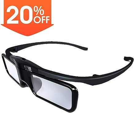 JmGO Rechargeable Active 3D Shutter Glasses - Only Support JMGO DLP-Link 3D Projectors Laser TV, 34.5 Grams of Weight Fashion Design 3D Glasses, Charge Once can Last 40hr(Black)