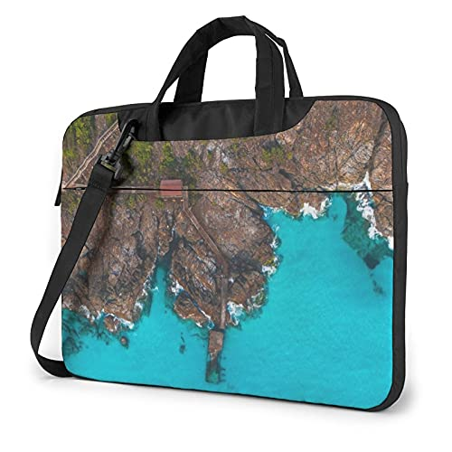 Laptop Sleeve Bag Sea Nature Aerial View Coast Water Pier Tablet Briefcase Ultraportable Protective Canvas for 14 inch MacBook Pro/MacBook Air/Notebook Computer