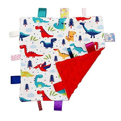 Bebé Manta con Etiquetas Suave Manta de Seguridad, Regalo de la Ducha del bebé, taggy mantita con Dibujo de Dinosaurio Multicolor, Parte Inferior roja(Dino)