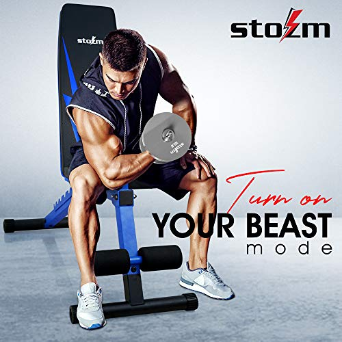 STOZM Adjustable Weight Bench / Utility Weight Bench with Foldable Design - Multi-purpose Flat/Incline/Decline Bench for Home Gym (Cobalt) (UXT5)