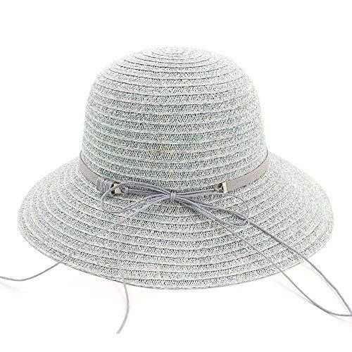 YUXINXIN Einfache Mode Damen Strohhut zusammenklappbare dünne Handarbeit häkeln Sonnenhut Frauen Sommer Stroh Seil Fliege Strand Hut (Farbe : Light Blue, Größe : 56-58CM)