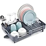 TOOLF Extendable Dish Rack, Dual Part Dish Drainers with Non-Scratch and Movable Cutlery Drainer and Drainage Spout, Adjustable Dish Drying Rack for Kitchen, Grey