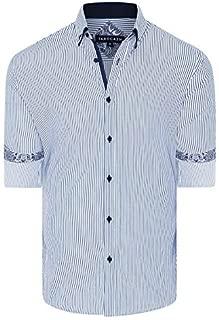Tarocash Men's Lance Stretch Stripe Shirt Regular Fit Long Sleeve Sizes XS-5XL for Going Out Smart Occasionwear