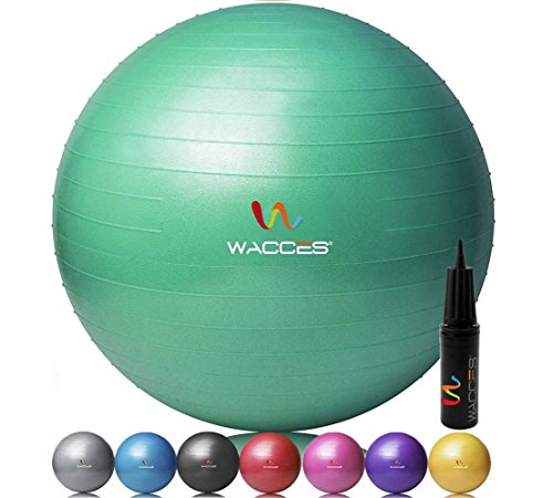 Wacces Professional Exercise, Stability and Yoga Ball for Fitness, Balance & Gym Workouts- Anti Burst - Quick Pump Included (Green, 75 cm)