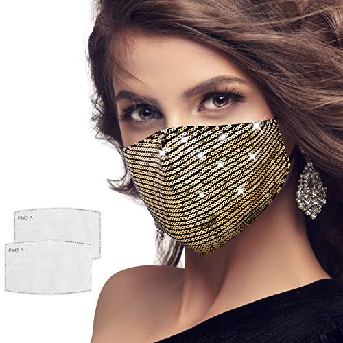 Sequin Face Mask Bling Sparkly Crystal Masks Reusable Washable with Elastic Earloops, Breathable Masquerade Mask for Women, Girls, Party Nightclub, Christmas,Halloween (Gold)