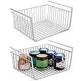 mDesign Juego de 2 estantes de cocina colgantes de metal resistente – Cestas...