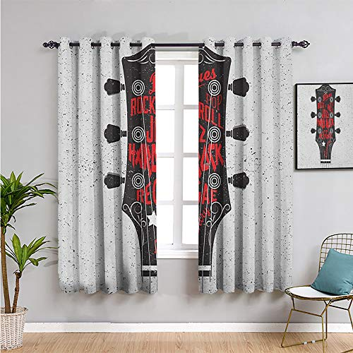 guitar Thermal Insulated Room Darkening Curtains, Curtains 39 inch length hand drawn...