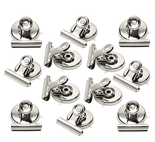 Ninth Five Magnetic Clips - Heavy Duty Refrigerator Magnet Clips - 31mm Wide Scratch Safe - Clip Magnets Best for House Office School Use, Hanging Home Decoration, Photo Displays(12Pack)