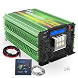EDECOA 24V Pure Sine Wave Power Inverter 3500W DC 24V to AC 110V 120V 4 AC Outlets and 1 Hardwire Terminal with LCD Display and Remote Controller