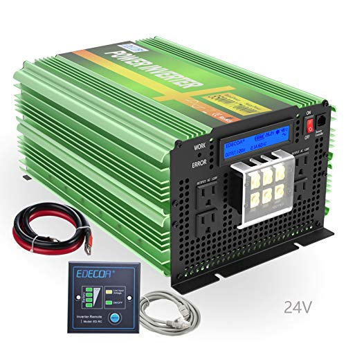 EDECOA Pure Sine Wave Power Inverter 3500W Upgraded Model DC 24V to AC 110V 120V 4 AC Outlets and 1 Hardwire Terminal with LCD Display and Remote Controller