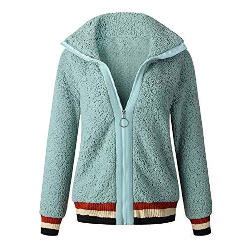 Autumn/Winter Fashion Zipper Pocket Stitching Blouse Jacket Green