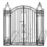 Festnight Ornamental Iron Garden Driveway Entry Gate, 4' x 8' x 4' 5', Black