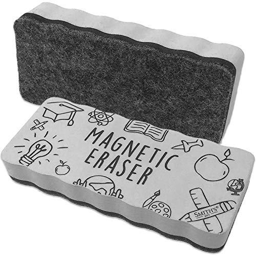 Smith's® großer, magnetischer Whiteboard-Radierer   Extra starker Neodym-Magnet   Perfekt für Zuhause, Büro & Klassenzimmer   Größe: 14,4 x 6,1 x 2,2 cm   Farbe: Grau