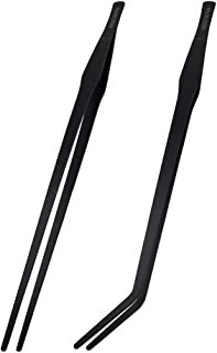 DEECOOYA 15 inch Long Handle Aquarium Tweezers,2 Pack Stainless Steel Straight and Curved Tweezers Set with Carbonation Co...